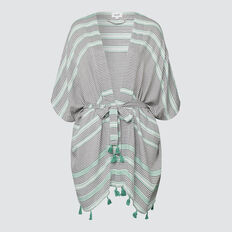 Diamond Stripe Poncho  PEACOCK GREEN MULTI  hi-res