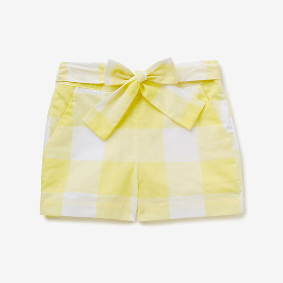 Gingham Tie Waist Shorts  LEMON YELLOW  hi-res