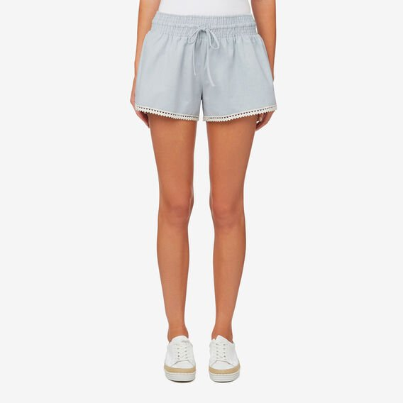 Chambray Trim Detail Short  SKY BLUE DENIM  hi-res