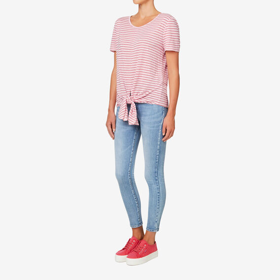Slouchy Knot Front Top  BOLD RED STRIPE  hi-res