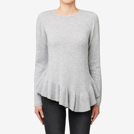 Asymmetrical Frill Sweater  MID GREY MARLE  hi-res