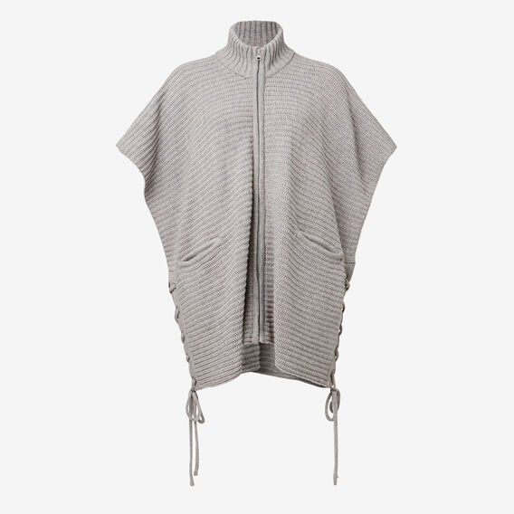 Lace-Up Poncho  MID GREY MARLE  hi-res
