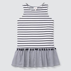 Stripe Pom Pom Dress  NAVY/WHITE  hi-res