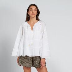 Cotton Flowy Top  WHISPER WHITE  hi-res