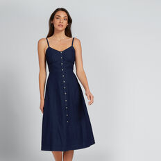 Chambray Button-Through Dress  DEEPEST BLUE WASH  hi-res