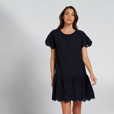 Scallop Trim Dress  DEEP NAVY  hi-res