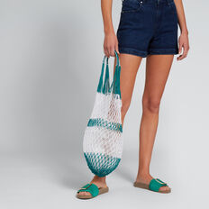 Stripe Shopper  PEACOCK GREEN/WHITE  hi-res