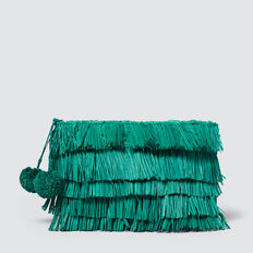 Fringe Clutch  PEACOCK GREEN  hi-res