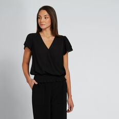 Shirred Wrap Top  BLACK  hi-res
