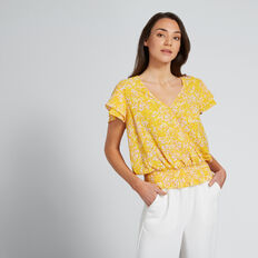Shirred Wrap Top  FLORAL  hi-res