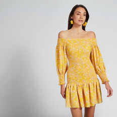 Shirred Off-Shoulder Dress  FLORAL  hi-res