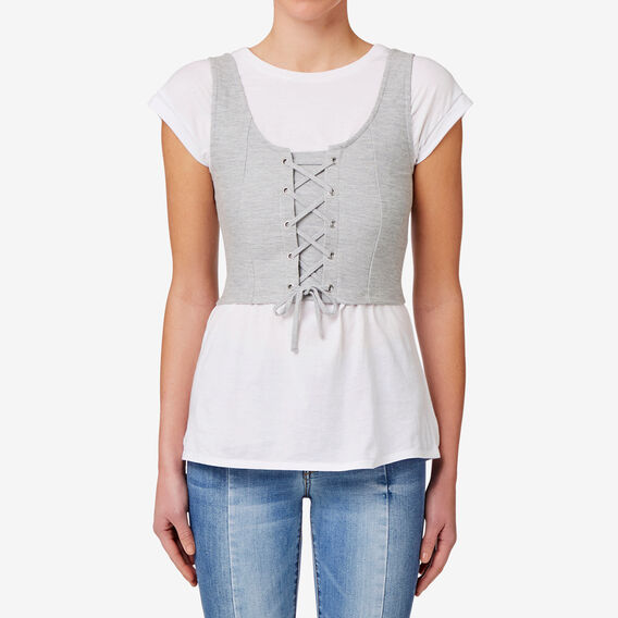 Textured Lace Up Top  MID GREY MARLE  hi-res