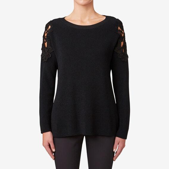Lace Detail Knit  BLACK  hi-res