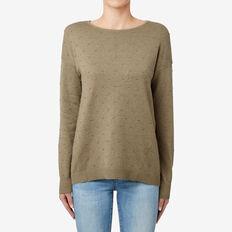 Hi-Lo Hem Pom Pom Sweater  MILITARY OLIVE MARLE  hi-res