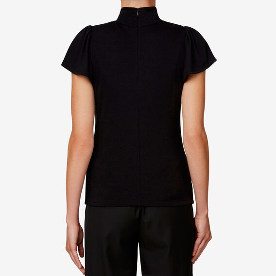 High-Neck Frill Sleeve Top  BLACK  hi-res