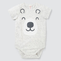 Novelty Bear Bodysuit  CANVAS SPACE DYE  hi-res