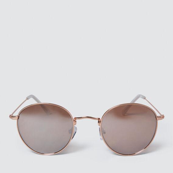 Rose Gold Metal Round Sunglasses  ROSE GOLD  hi-res