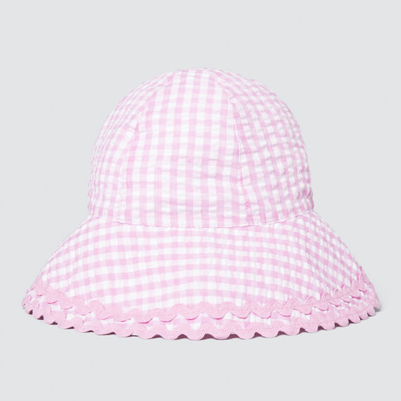 Wide Brim Gingham Sun Hat  BRIGHT LILAC  hi-res