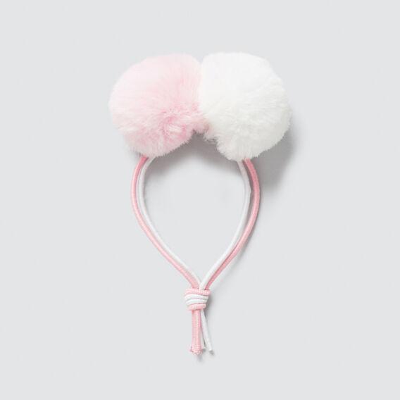 Fur Pom Pom Elastic  PINK/WHITE  hi-res