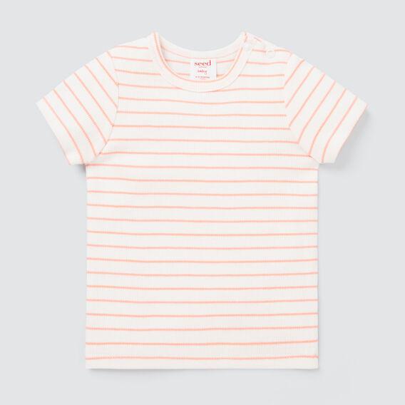 Stripe Rib Tee  BRIGHT PEACH  hi-res