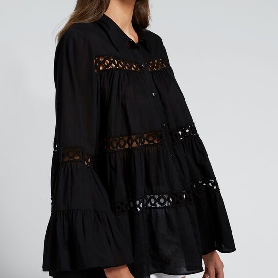 Floaty Trim Shirt  BLACK  hi-res