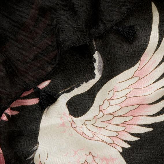 Crane Print Scarf  BLACK/ ROSE MIST  hi-res
