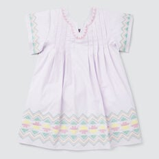 Embroidered Smock Dress  LILAC  hi-res