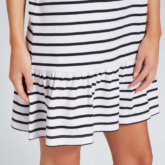Ruffle Hem Dress  DEEP NAVY/WHT STRIPE  hi-res