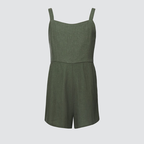 Linen-Blend Playsuit  KHAKI  hi-res