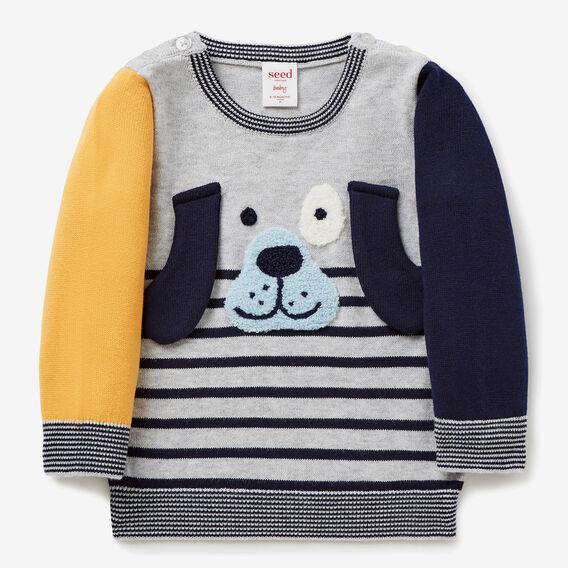 Puppy Stripe Crew Knit  MULTI  hi-res