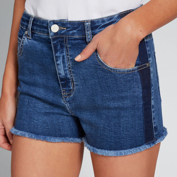 Side Stripe Denim Short  MID DENIM WASH  hi-res