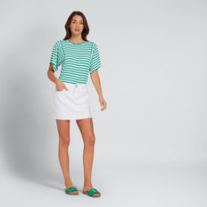 Relaxed Stripey Tee  PEACOCK GREEN STRIPE  hi-res