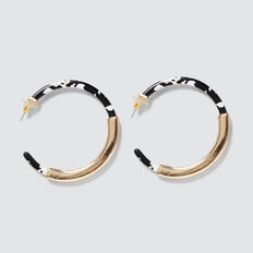Resin Bar Hoops  BLACK/WHITE  hi-res