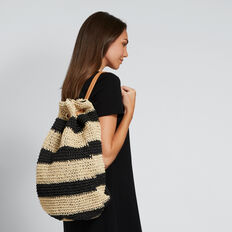 Naomi Stripe Backpack  BLACK/NATURAL  hi-res