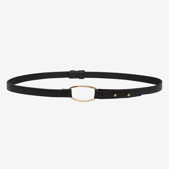 Leather Skinny Belt  BLACK  hi-res