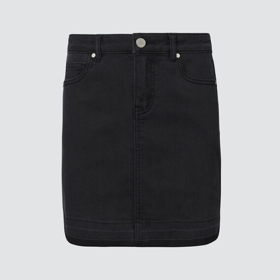Turndown Denim Skirt  WASHED BLACK  hi-res