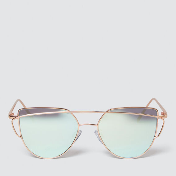 Angled Wire Mirror Metal Sunglasses  ROSE GOLD  hi-res