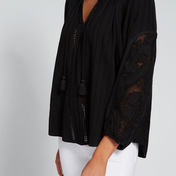 Embroidered 3/4 Sleeve Blouse  BLACK  hi-res
