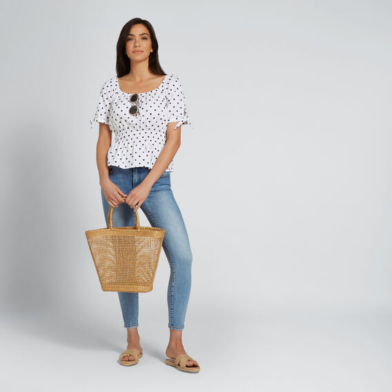 Spotty Bow Sleeve Top  DEEP NAVY SPOT  hi-res