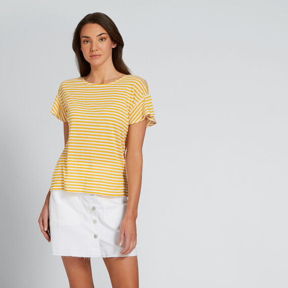 Gathered Sleeve Tee  AMBER YELLOW STRIPE  hi-res
