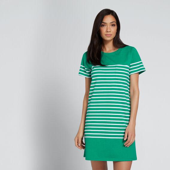Casual T-Shirt Dress  PEACOCK GREEN STRIPE  hi-res