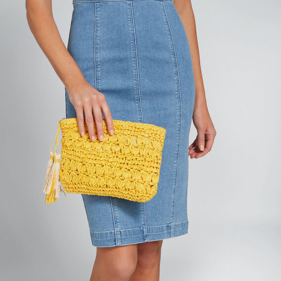 Lindsay Crochet Pouch  AMBER YELLOW  hi-res