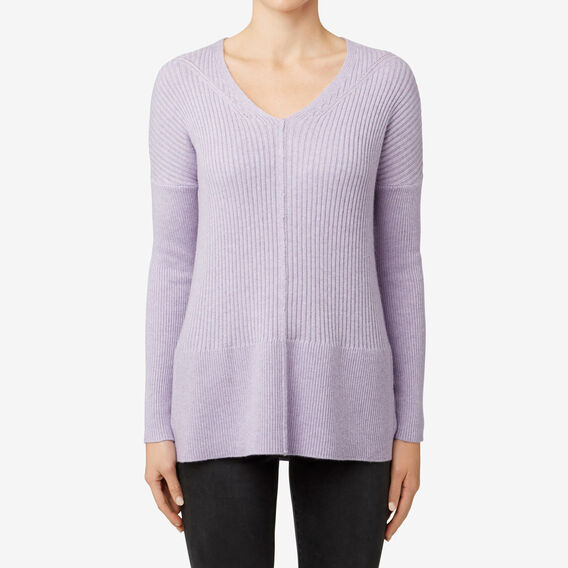 V-Neck Rib Sweater  WISTERIA MARLE  hi-res