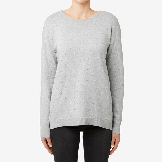 Hi-Lo Hem Pom Pom Sweater  MID GREY MARLE  hi-res