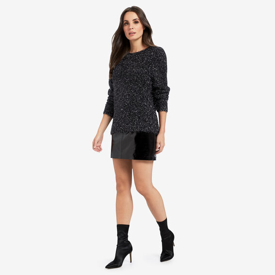Textured Metallic Knit  BLACK  hi-res