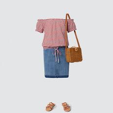Turndown Denim Skirt  BRIGHT WASH  hi-res