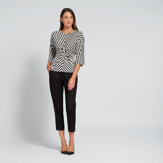 Stripe Twist Top  BISQUE/BLACK  hi-res