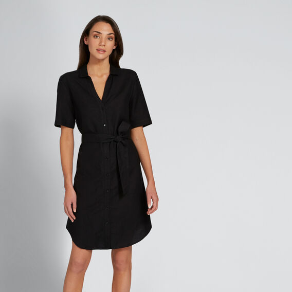 Relaxed Shirt Dress  BLACK  hi-res