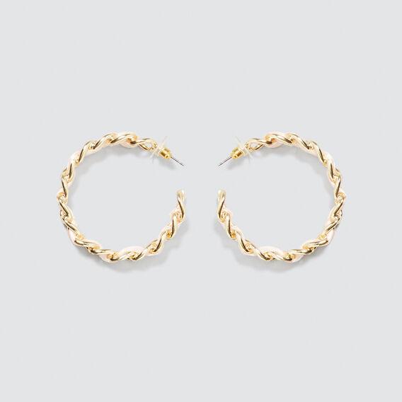 Chain Ribbon Hoops  GOLD/PEACH  hi-res