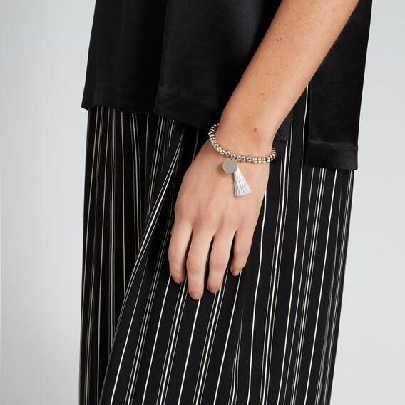 Bead and Tassel Bracelet  SILVER  hi-res